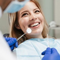 smiling woman at her dental checkup