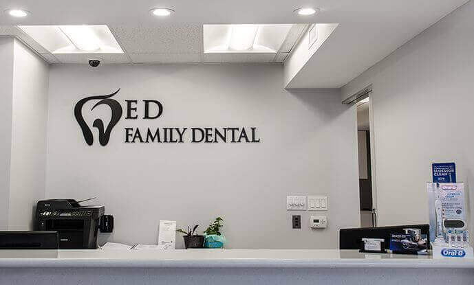 Receptionist desk of ED Family Dental