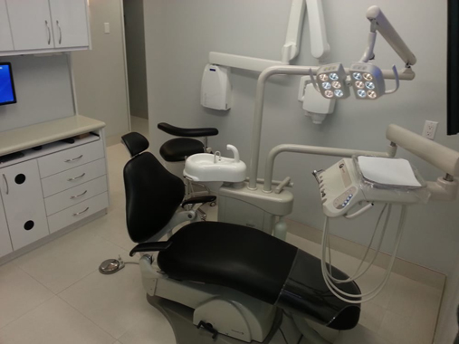 Side view of dental examination room